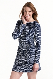 Coastline Cover Up Dress - Navy Geo Ikat
