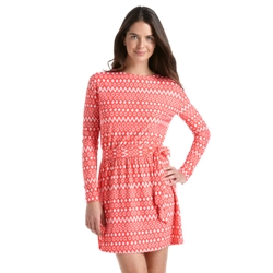 Coolibar Womens Coastline Cover-Up Dress in Coral Geo Ikat, Iconic Ikat, or Navy Geo Ikat