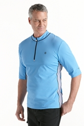 Short Sleeve Quarter-Zip Aqua Shirt