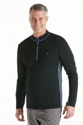 Long Sleeve Quarter-Zip Aqua Shirt
