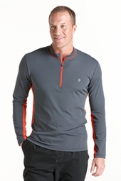 Long Sleeve Quarter Zip Aqua Shirt