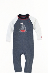 Baby Beach One Piece Swimsuit - Navy Blue Sailboat