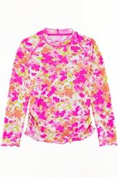 Girl's Ruche Swim Shirt - Pink Blossom