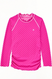 Girl's Ruche Swim Shirt - Pretty Pink Polka Dot