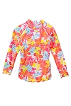 Girl's Long-sleeve Ruche Swim Shirt - Print