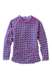 Girl's Long-sleeve Ruche Swim Shirt