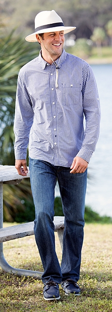 Summerweight Gingham Shirt Outfit at Coolibar