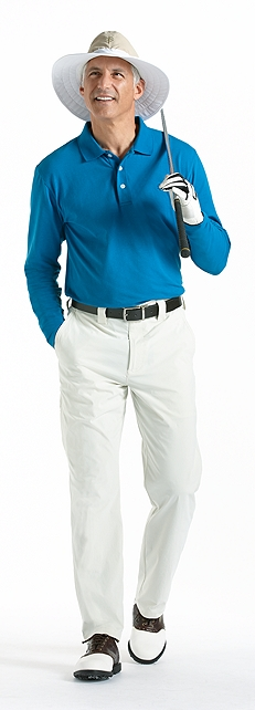 Long Sleeve Polo & Golf Hat Outfit at Coolibar
