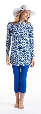 Iconic Ikat Ruche Swim Shirt Outfit
