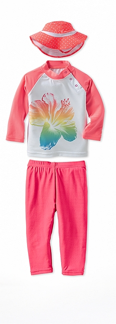 Infant Rash Guard Flower Print Outfit