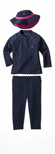 Infant Rash Guard Navy Polka Dot Outfit at Coolibar
