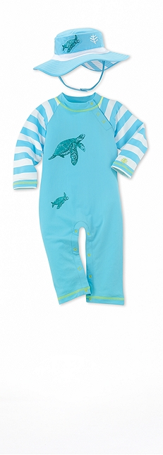 Infant Beach Romper Turtles Outfit at Coolibar