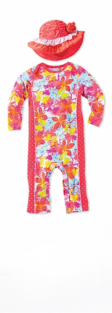 Baby Swim Romper Paradise Floral Outfit at Coolibar