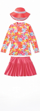 Long Sleeve Surf Shirt Flower Print Outfit