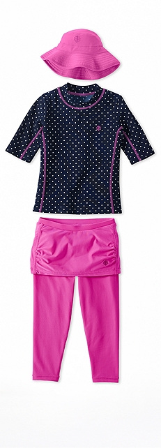 Short Sleeve Surf Shirt Navy Polka Dot Outfit at Coolibar