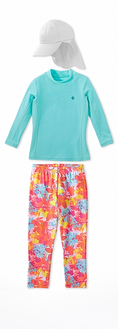 Long Sleeve Surf Shirt Fresh Mist Outfit at Coolibar