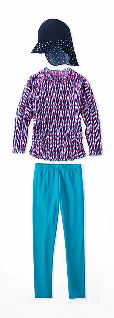 Ruche Swim Shirt Blueberry Zig Zag Outfit at Coolibar