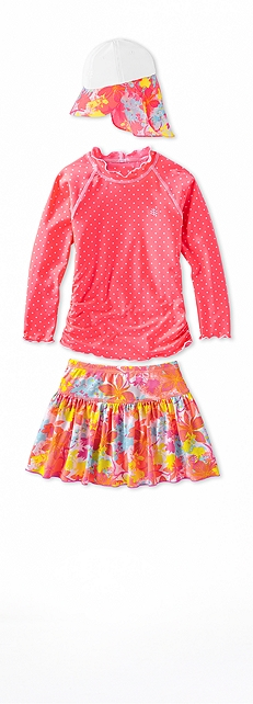Ruche Swim Shirt Coral Polka Dot Outfit at Coolibar