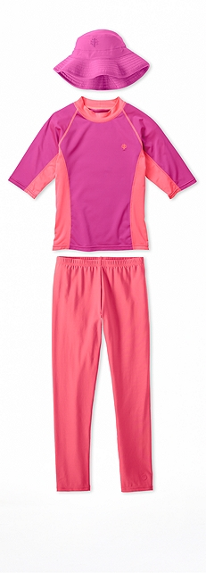 Short Sleeve Rash Guard Pretty Pink Outfit at Coolibar