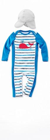 Infant Swim Romper Graphite Stripe Outfit