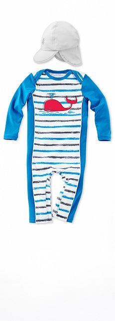 Infant Swim Romper Graphite Stripe Outfit at Coolibar