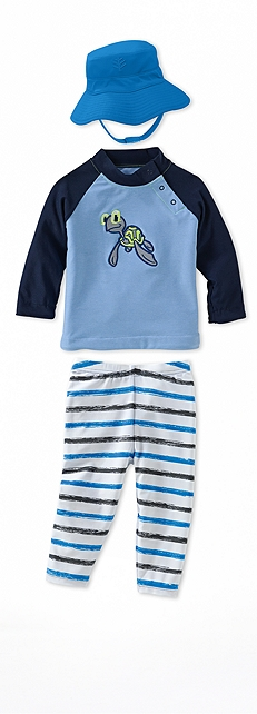 Infant Rash Guard Sky Blue Turtle Outfit at Coolibar
