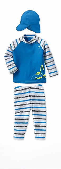Infant Rash Guard Graphite Stripe Shark Outfit