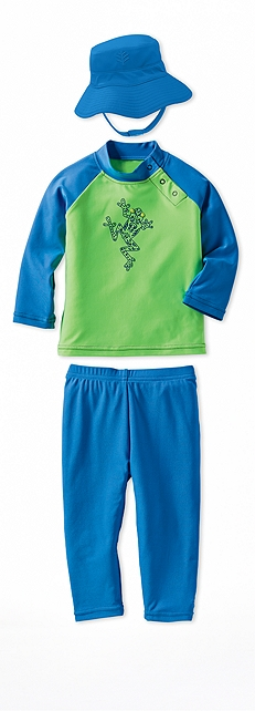 Infant Rash Guard Electric Green Frog Outfit at Coolibar
