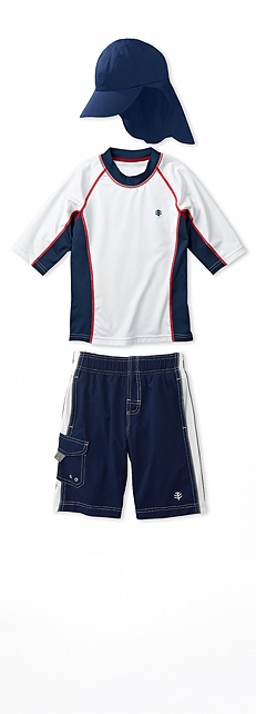 Short Sleeve Rash Guard White & Navy Outfit at Coolibar