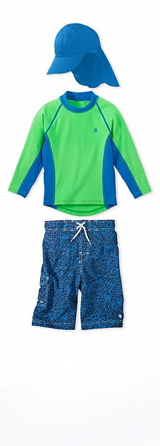Long Sleeve Rash Guard Electric Green Outfit at Coolibar