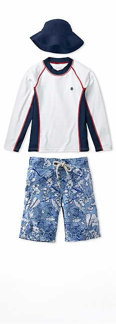Long Sleeve Surf Shirt & Swim Trunk Outfit