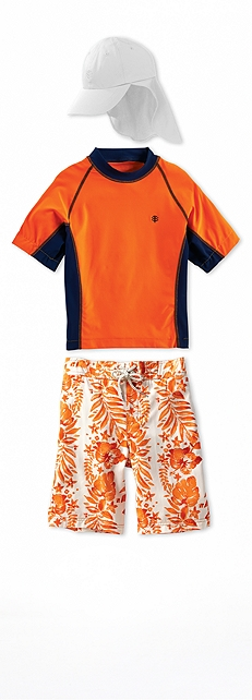Short Sleeve Rash Guard Orange/Navy Outfit at Coolibar