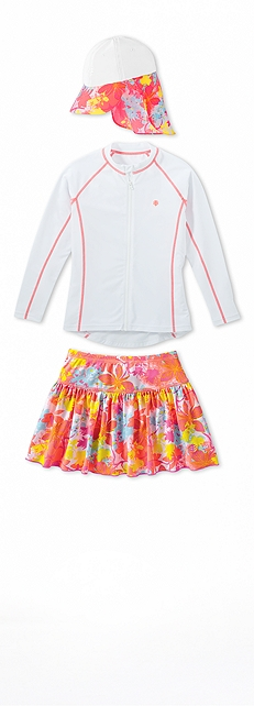 Water Jacket White/Fire Coral Outfit