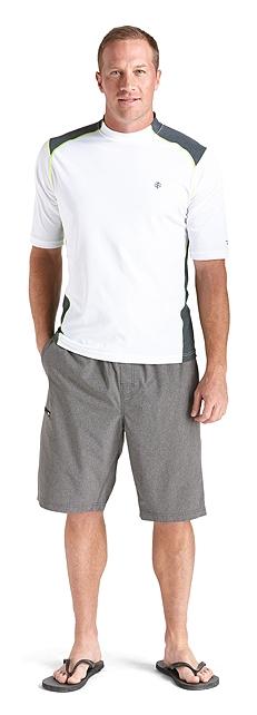 Short Sleeve Rash Guard & Aqua Shorts Outfit at Coolibar