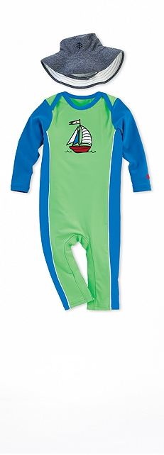 Green Sailboat Infant Swim Romper Outfit