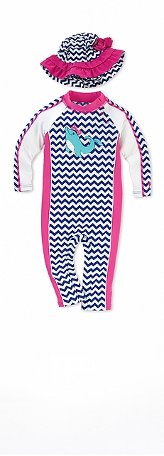 Dolphin Zig Zag Infant Seaside Romper Outfit