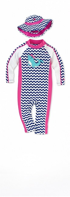 Dolphin Zig Zag Infant Seaside Romper Outfit at Coolibar