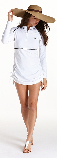 White Ruche Swim Shirt Outfit at Coolibar