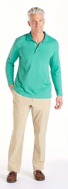Men's Tropical Weight Long Sleeve Polo Outfit at Coolibar