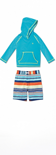 Hooded Swim Shirt & Trunks Outfit at Coolibar