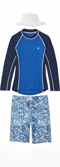 Blue Wave Rash Guard Outfit at Coolibar