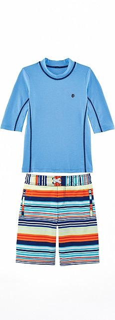 Surf Shirt & Sol Stripe Swim Trunks Outfit at Coolibar