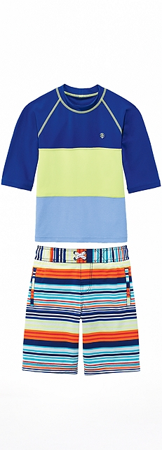 Blue Wave Color Block Rash Guard Outfit at Coolibar