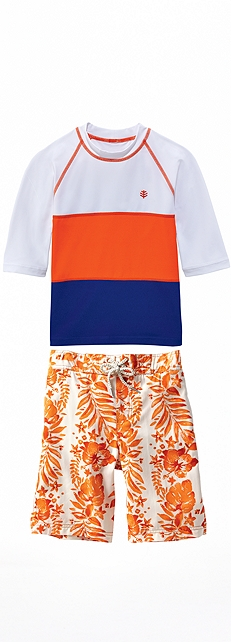 Color Block Rash Guard Outfit at Coolibar
