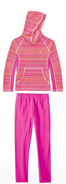 Tribal Pink Hooded Swim Shirt Outfit