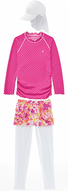 Ruched Swim Shirt & Skirted Swim Leggings Outfit at Coolibar