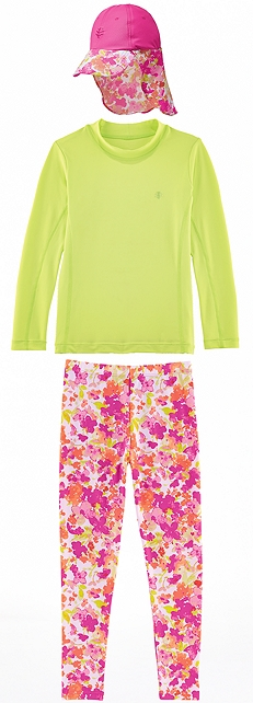 Surf Shirt & Pink Blossom Swim Tights Outfit at Coolibar