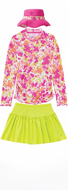 Pink Blossom Ruched Swim Shirt Outfit