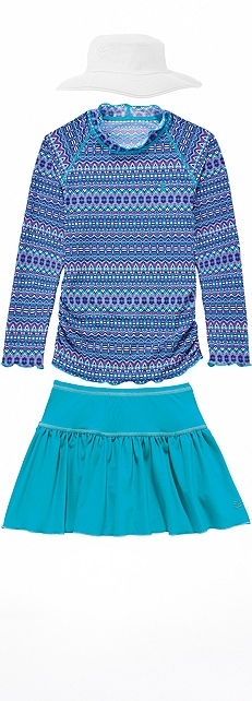 Ruched Swim Shirt & Swim Skort Outfit at Coolibar
