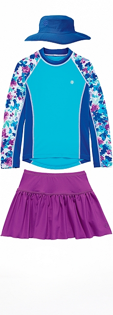 Rash Guard & Swim Skort Outfit at Coolibar